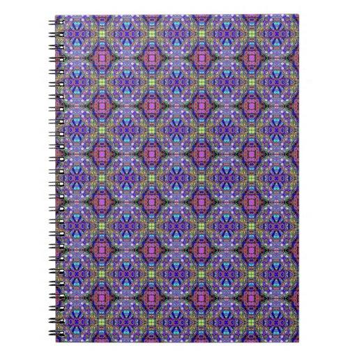 Richly patterned purple spiral notebook