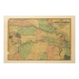 Richmond and Peninsular Campaign in Virginia 1864 Wood Wall Art