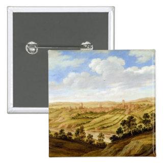 Richmond Castle, Yorkshire, c.1640-41 (oil on pane 2 Inch Square Button