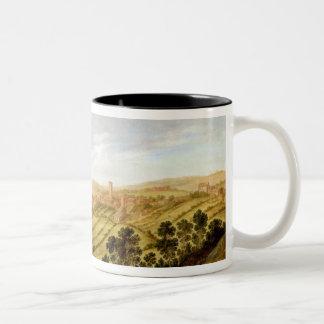 Richmond Castle, Yorkshire, c.1640-41 (oil on pane Two-Tone Coffee Mug
