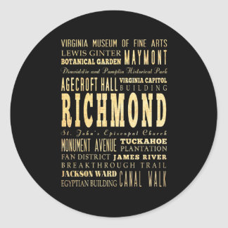 Richmond City if Virginia Typography Art Classic Round Sticker