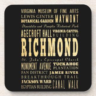 Richmond City if Virginia Typography Art Coaster