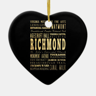 Richmond City if Virginia Typography Art Double-Sided Heart Ceramic Christmas Ornament