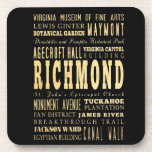 Richmond City if Virginia Typography Art Drink Coaster