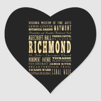 Richmond City if Virginia Typography Art Heart Sticker