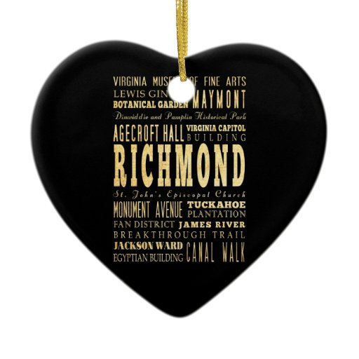 Richmond City if Virginia Typography Art Christmas