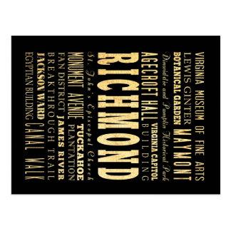Richmond City if Virginia Typography Art Postcard