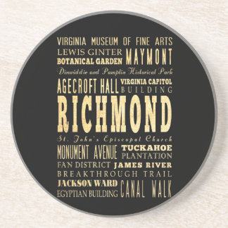 Richmond City if Virginia Typography Art Sandstone Coaster