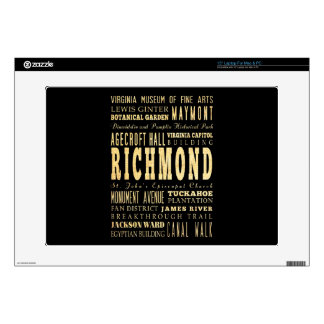 Richmond City if Virginia Typography Art Skin For Laptop