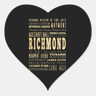Richmond City if Virginia Typography Art Heart Stickers