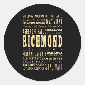 Richmond City if Virginia Typography Art Round Sticker