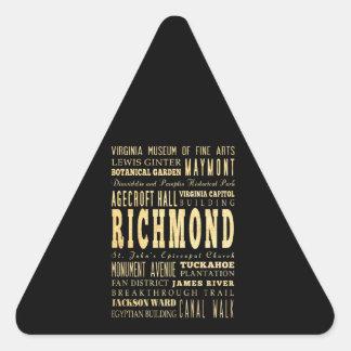Richmond City if Virginia Typography Art Triangle Sticker