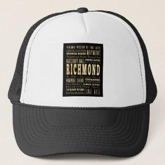 Richmond City if Virginia Typography Art Trucker Hat