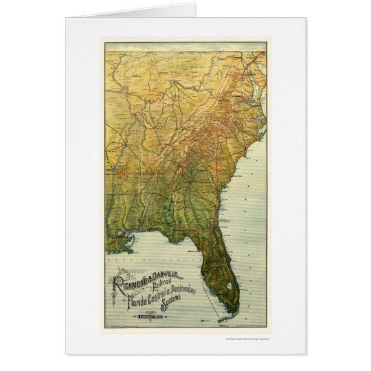 Richmond & Danville Railroad Map 1893 Card
