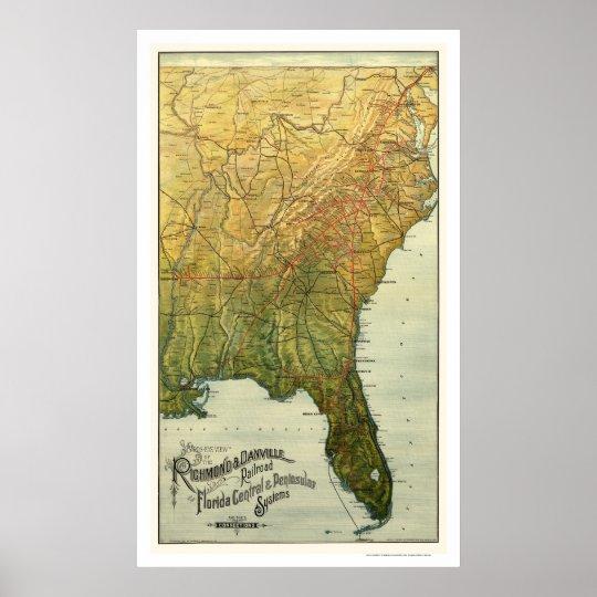 Richmond & Danville Railroad Map 1893 Poster