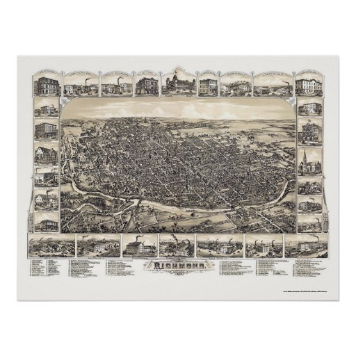 Richmond, IN Panoramic Map - 1884 Poster