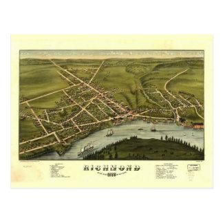 Richmond Maine 1878 Antique Panoramic Map Postcard