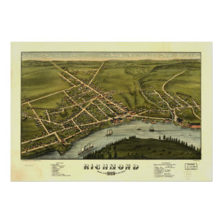 Richmond Maine 1878 Antique Panoramic Map Poster