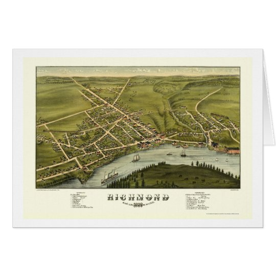Richmond, ME Panoramic Map - 1878 Card