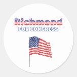 Richmond para la bandera americana patriótica del etiquetas redondas