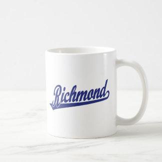 Richmond script logo in blue coffee mug