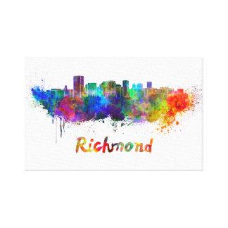 Richmond skyline in watercolor canvas print