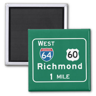 Richmond, VA Road Sign 2 Inch Square Magnet
