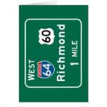 Richmond, VA Road Sign Greeting Card