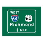 Richmond, VA Road Sign Postcard