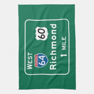 Richmond, VA Road Sign Towel