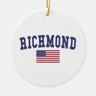 Richmond VA US Flag Ceramic Ornament