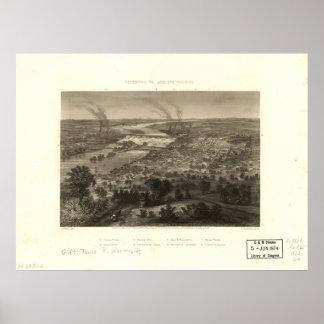 Richmond Virginia 1863 Antique Panoramic Map Poster