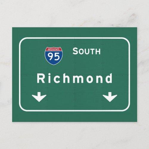 Richmond Virginia goes Interstate Highway Freeway Postcard