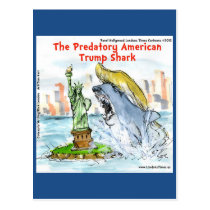 Rick London Funny Trump Shark Postcard