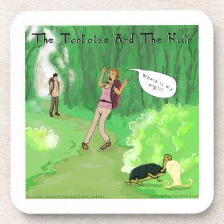 Rick London Turtle And The Wig Hair Funny Beverage Coaster