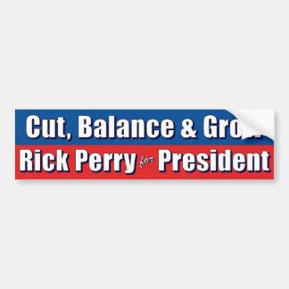 Rick Perry - corte la balanza y crezca Etiqueta De Parachoque
