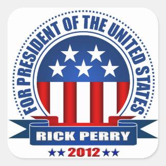 Rick Perry Calcomania Cuadradas Personalizada