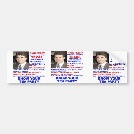 Rick Perry, Tea Party Governor of Texas Car Bumper Sticker