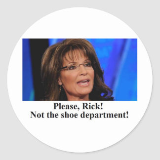 Rick Perry worries Sarah Palin (sm img) Classic Round Sticker