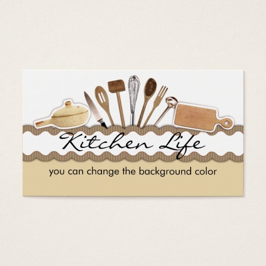 Rick rack country kitchen utensils cooking business card