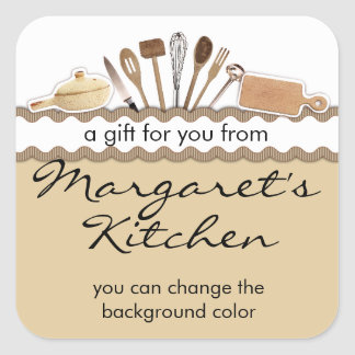rick rack country kitchen utensils gift tag label square sticker