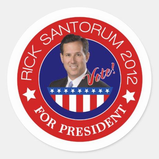 Rick Santorum for President 2012 Stickers