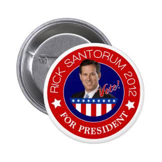 Rick Santorum para el presidente 2012 Pin Redondo 5 Cm