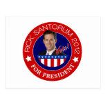 Rick Santorum para el presidente 2012 Postal
