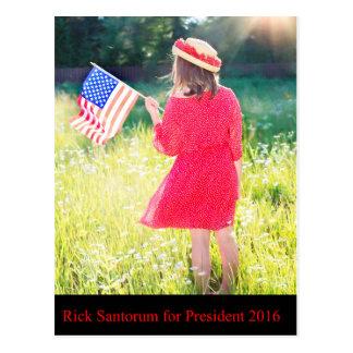 Rick Santorum para el presidente 2016 Tarjeta Postal