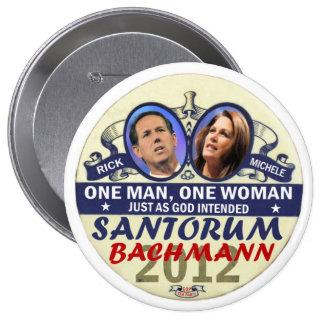 Rick Santorum y Micaela Bachmann en 2012 Pin Redondo De 4 Pulgadas