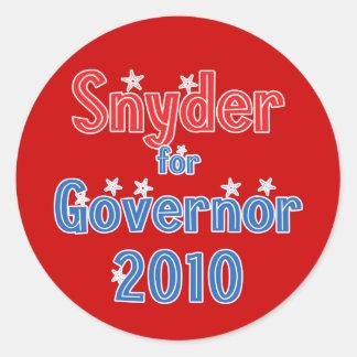 Rick Snyder for Governor 2010 Star Design Classic Round Sticker