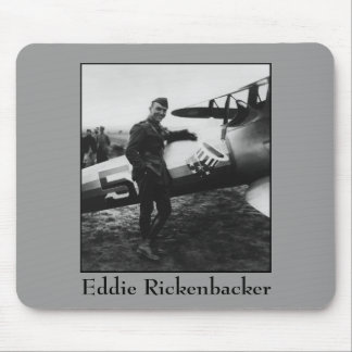 Rickenbacker Posing With His Plane Mousepads