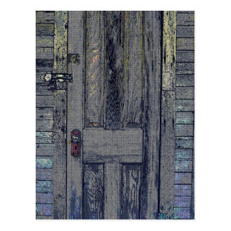 Rickety Wooden Shed Door Postcard