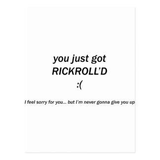 Rickroll'd Postcard